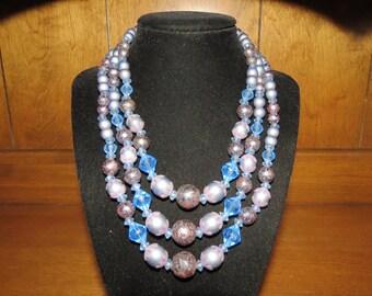 Vintage 1950s Three Strand Plastic Bead Necklace