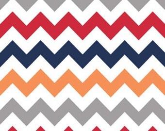 Medium Chevron in Boy, Riley Blake Quilting Fabric, Grey Red Navy and Orange Chevron Fabric
