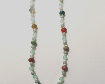 Hand-knotted Beaded Choker Necklace in Natural Pastel