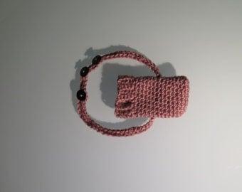 Pink Crochet Ipod Holder