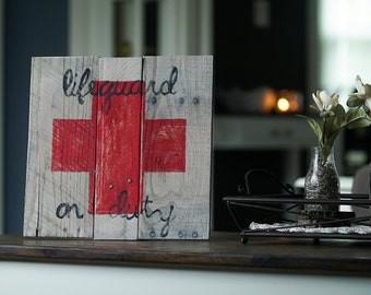 LifeGuard on Duty Beach Inspired Reclaimed Wood Pallet Sign Wall Art