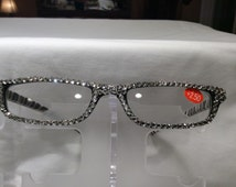 2.50 Swarovski Crystal Reading Glasses (zebra print with clear crystals) FREE SHIPPING