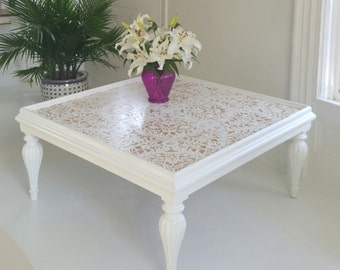 Sold###Painted white and gold coffee table, Marakesh style stencil,  white and gold, boho, boho chic, cottage chic