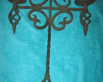 Vintage Gothic Two Arm Hanging Spanish Revival Wrought Iron Candle Holder! #BV
