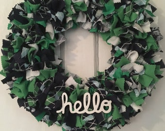 Plaid Welcome Wreath, Blue Greendecor, wall decoration, wall hanging, front door hanger, home decor, MOSTaDOORableWREATHS, every day,