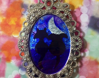 READY to SHIP Cat & Dog Stargazing Reverse Foil Painting | Night Sky, Moon, Tinsel  Glass Painting, Romantic Art, Tiny Art, Anniversary Gift
