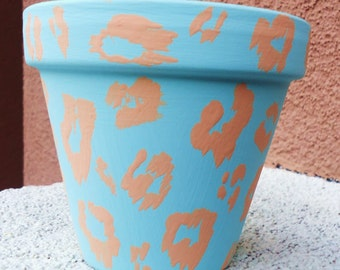 Leopard Pottery//Hand-Painted Leopard Pot//Baby Blue and Peach Hand-Painted Pot