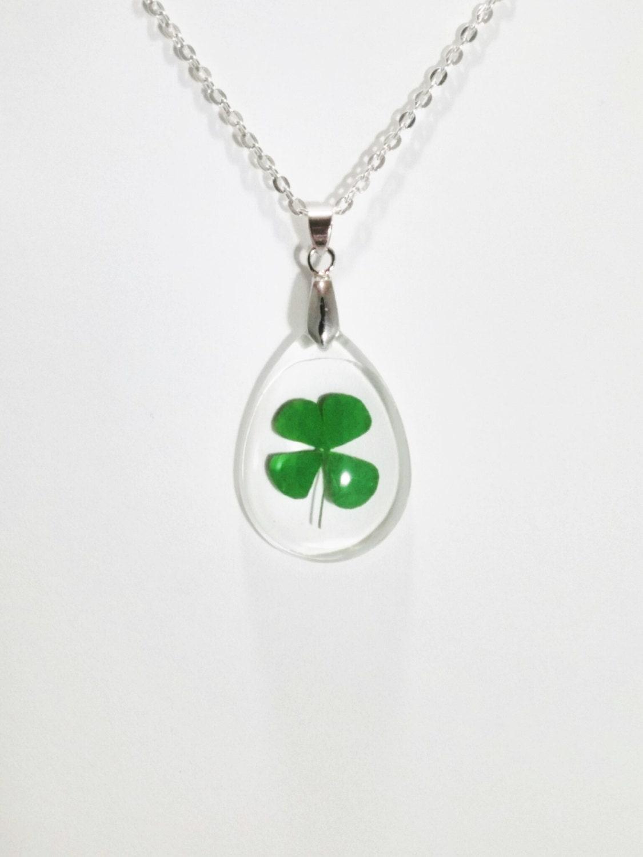 real four leaf clover necklace four leaf clover pendant nature