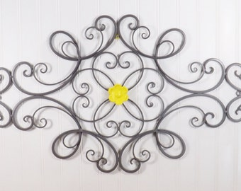 metal wall decor wrought iron decor cottage trendy bed room decor kitchen decor wrought iron gray yellow home decor scrolled art