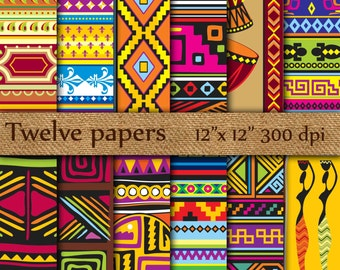 """Tribal Digital Papers: """"ETHO PATTERN""""  ethnic digital papers, exotic papers , ikat digital papers , tribal background"""