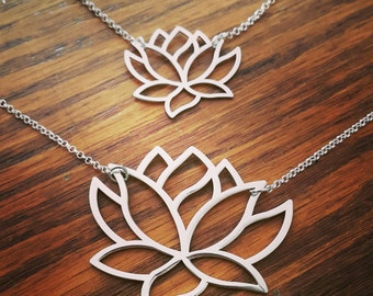 Large Silver Lotus Flower /  Buddhism Lotus Necklace / Meditation necklace / LARGE Yoga Necklace /  Made to Order / Gift Especially for You