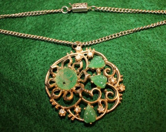 Gold Tone Faux Jade Filligree Necklace with Diamond like Accents