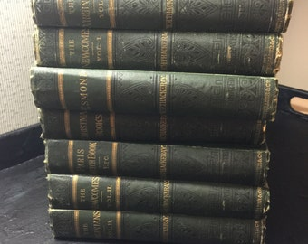 7 volume set of Thackeray books 1878