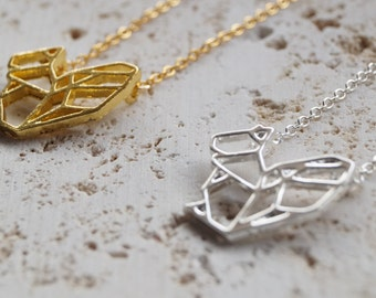 Origami Squirrel Necklace - Squirrel Pendant - Geometric Necklace - Gold Or Silver Plated - Woodland Pendant