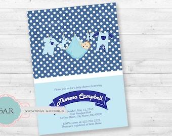 Polkda Dots Baby Shower Invitation/ Blue Baby Shower Invitation/ Baby Shower Invitation