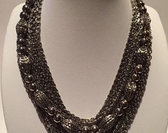 Vintage Beaded Necklace Chain Multi Strand Mid Century 1950's Japan Silvertone