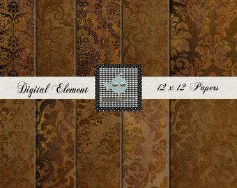 Digital Vintage Paper, Copper Photo Backdrop Paper,  Digital Photo Texture Overlay, Digital Printable Background. No. P134.C