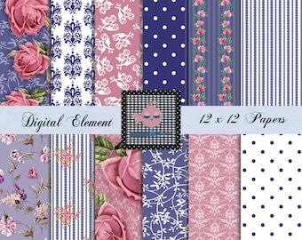 Digital Paper, Digital Scrapbook Paper, Pink Shabby Chic Roses, Digital Vintage Pink Paper, Floral Pink and Navy Paper. No. V7.19.DB