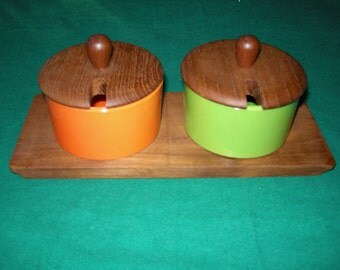 Set of Teak and Plastic Condiment Dishes with Lids