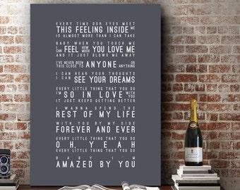 Lonestar Amazed Inspired Lyrics Music Wall Art Song Lyrics Home Decor Anniversary Gift Wedding Gift Typography Lyric PRINT