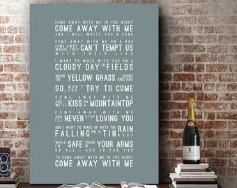 Norah Jones Come Away With Me Inspired Lyrics Music Wall Art Song Lyrics Home Decor Anniversary Gift Wedding Gift Typography Lyric PRINT