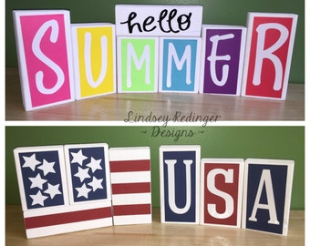 Reversible Wooden Blocks - Hello Summer / USA Fourth of July Decoration for Summer and Fourth of July - American Flag