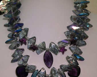 Statement Crystal Necklace - Purple and Grey Crystal Statement Necklace