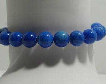 Blue Lapis 10mm Beaded Stretch Bracelet
