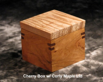 Small Cherry wood Box with Curly Maple Lid