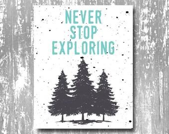 Never Stop Exploring Art Print, Adventure art print, adventure printable, explore, printable art, wall art, quote printable, adventure
