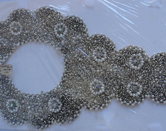 Vintage Wedding Applique, Faux Pearl and Gemstone, Applique