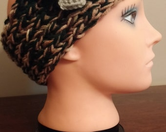 Dark Green and Tan headband/earwarmer