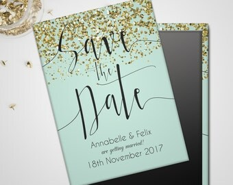 Save the Date Wedding Magnet - A Little Sparkle Gold and Mint, peach or pint