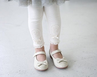 Cute thick kids Leggings with lace