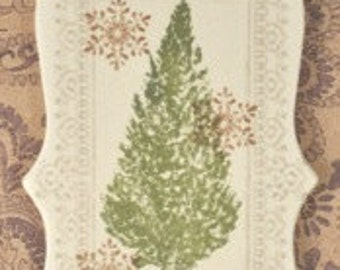 Ceramic Christmas Tree Ornament - tree, white