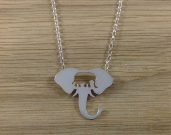 Hand Sawn Elephant Head with Elephant Outline Necklace