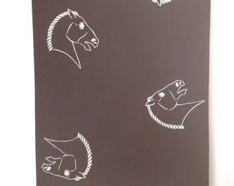 A  1950's Vintage painted Stallion/horse design for textiles or wallpaper