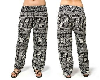 Elephant Print Drawstring Pants - Black - 3096K