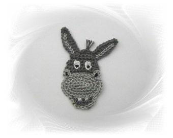 Ass application, donkey crochet, crochet, sew-on patches, crochet applique, application