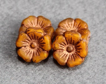 12mm Czech Glass Hawaiian Flower Beads, Authentic Bohemian Deep Yellow Gold Pressed Floral Bead, Jewelry Making, Craft