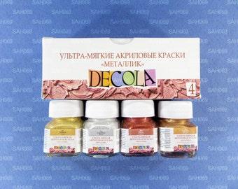 4 METALLIC Acrylic Paint Set DECOLA Russian Nevskaya Palitra