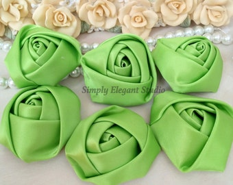"1.8"" Green Satin Roses, 3 Vintage Rolled Fabric Rosettes, Baby Headband Flowers, Wedding Flowers, Flower Supply"