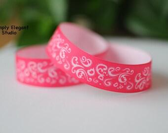 """Pink Grosgrain Ribbons, 7/8"""" Ribbons, Craft Supply Ribbons, Ribbon by the Yard"""