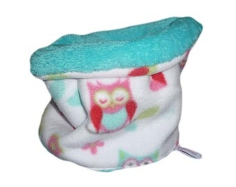 Snood / child polar neck Tower - owls (TURQUOISE)-