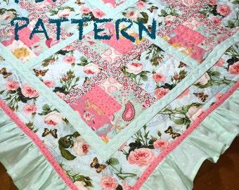 Ruffle Baby Girl Quilt Pattern, Ruffle Quilt Pattern, Baby Girl quilt pattern, French Country Flair Quilt PDF Pattern
