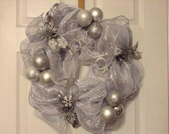 Silver joy  Christmas wreath/centerpiece