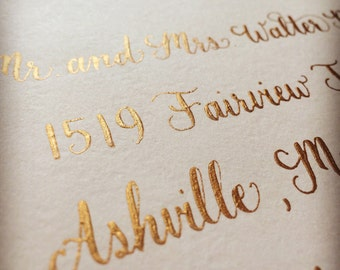 Wedding Envelope Calligraphy, Event Calligraphy, Blush Envelopes and Gold Ink