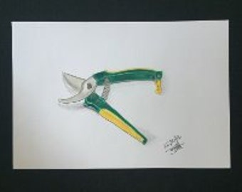 Drawing - Green and Yellow Secateurs
