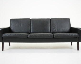 304-175 Danish Mid Century Modern Black Leather Sofa