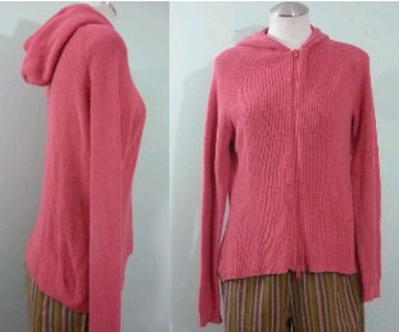 SALE! / Nantucket Red Wide Rib Knit Cotton Hoodie / 1990s Zip Front Salmon Hooded Sweater / Oversize, Plus Size / Modern Large to XL